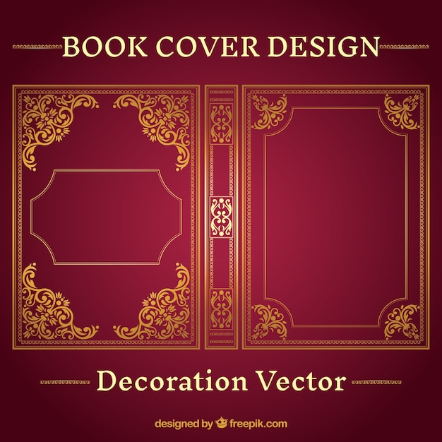 Blank Book Cover Vector Illustration Free : Diseño de portada del libro ornamental descargar