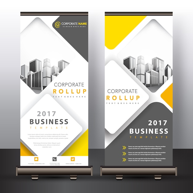 Diseño de roll up amarillo y gris Vector Gratis