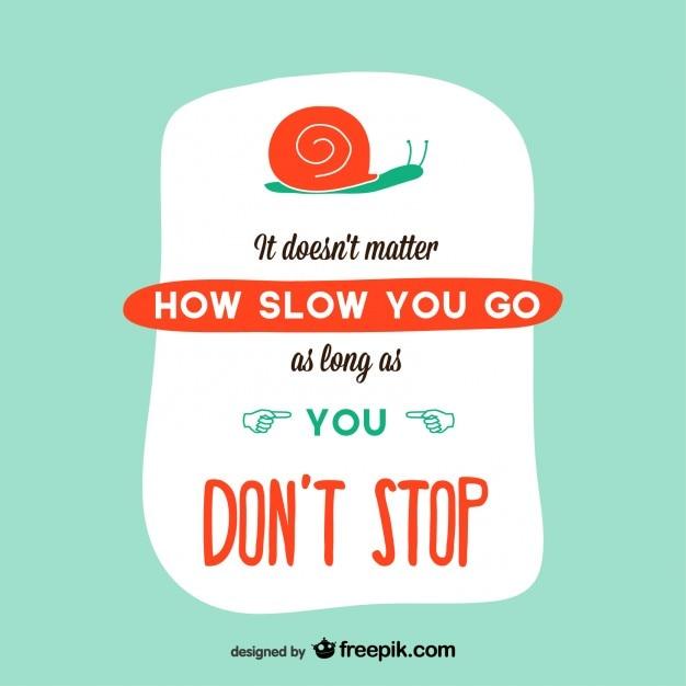 Diseño de tarjeta con caracol y mensaje de motivación Vector Gratis