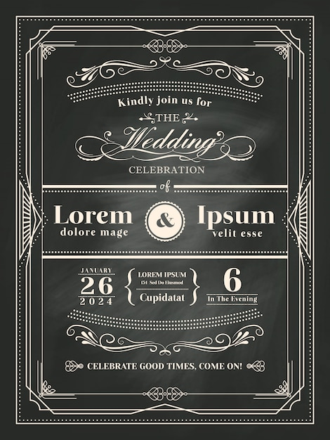 Diseño de tiza de marco vintage de boda   Descargar Vectores Premium