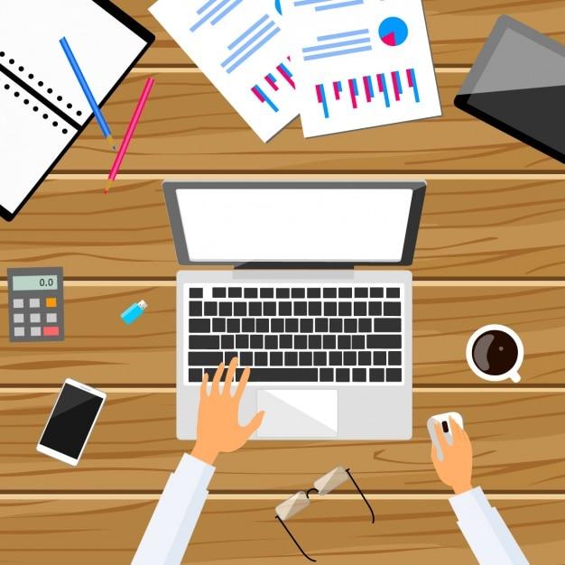 Dise o de trabajo en la oficina descargar vectores gratis for Diseno mesa de trabajo