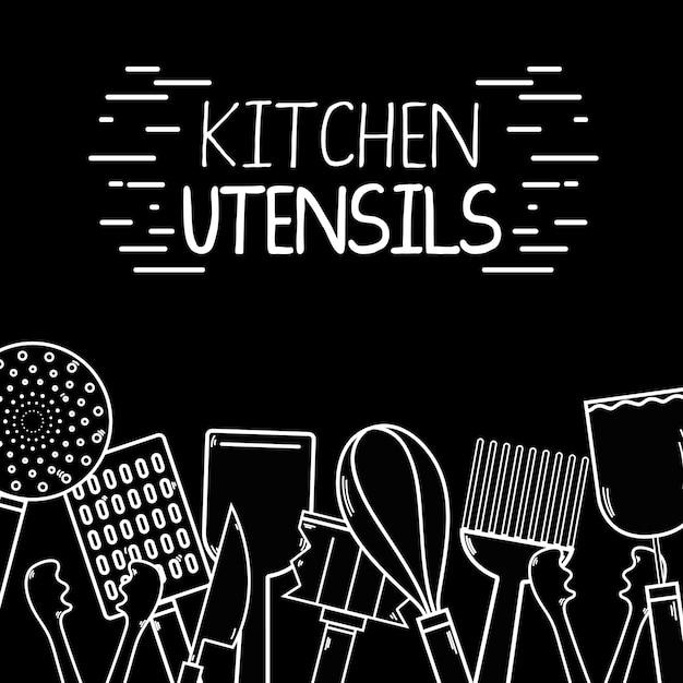 Diseño de decoración de fondo de utensilios de cocina   Descargar ...