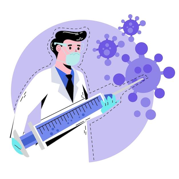 Diseño de desarrollo de vacunas de coronavirus vector gratuito
