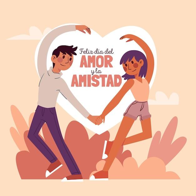Diseño del día del amor y la amistad. vector gratuito