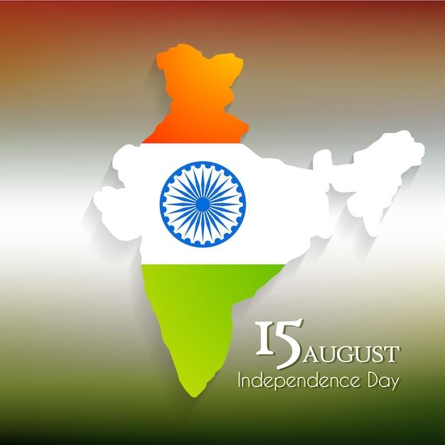 Diseño para el día de la independencia de la india con mapa vector gratuito