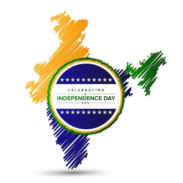 Diseño de día de la independencia de india con vector de mapa y tipografía vector gratuito