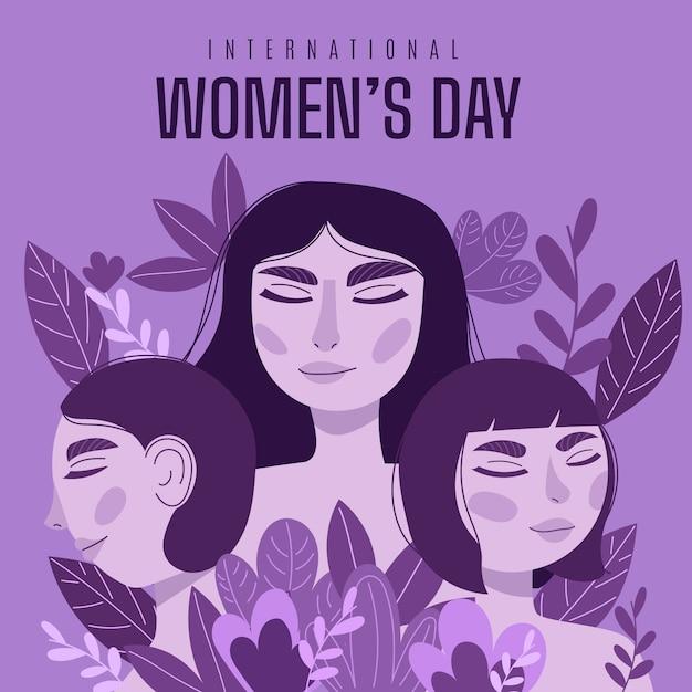 Diseño del día de la mujer dibujado a mano. vector gratuito