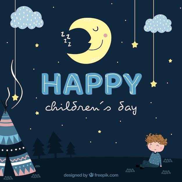 Diseño para el día de los niños de noche vector gratuito