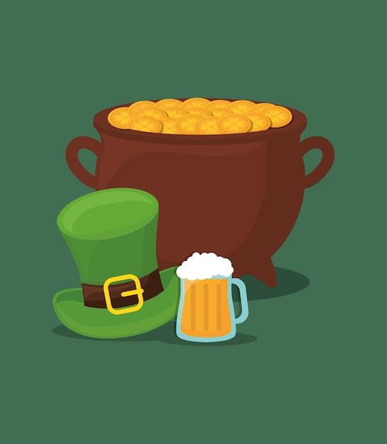 Diseño del día de san patricio con olla de oro y sombrero de copa ... ae8ae2a8617a