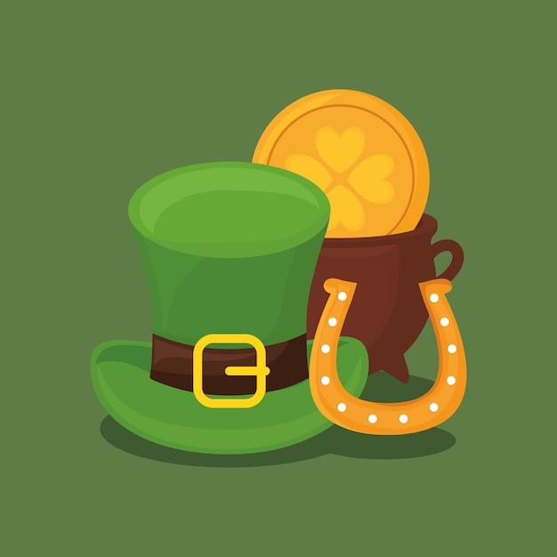 Diseño del día de san patricio con sombrero de copa y olla de oro ... 9b1e38d0f3a3