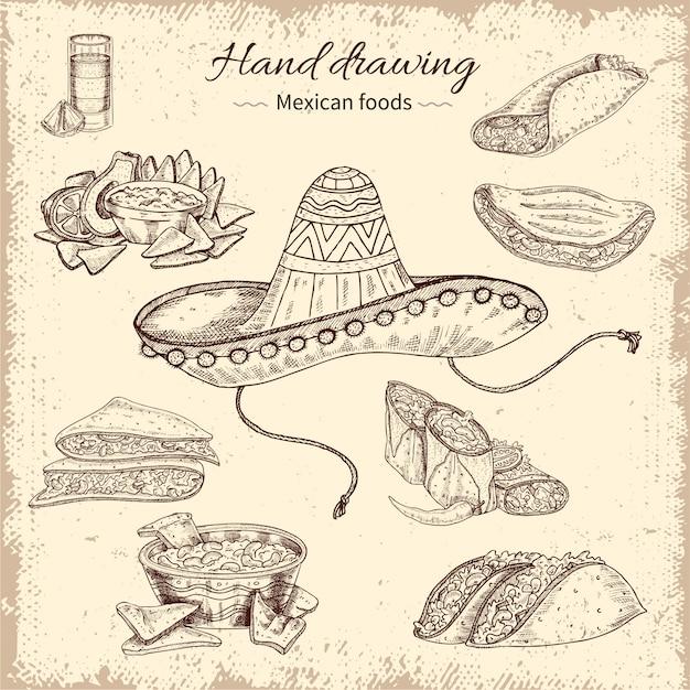Diseño dibujado a mano de comida mexicana vector gratuito