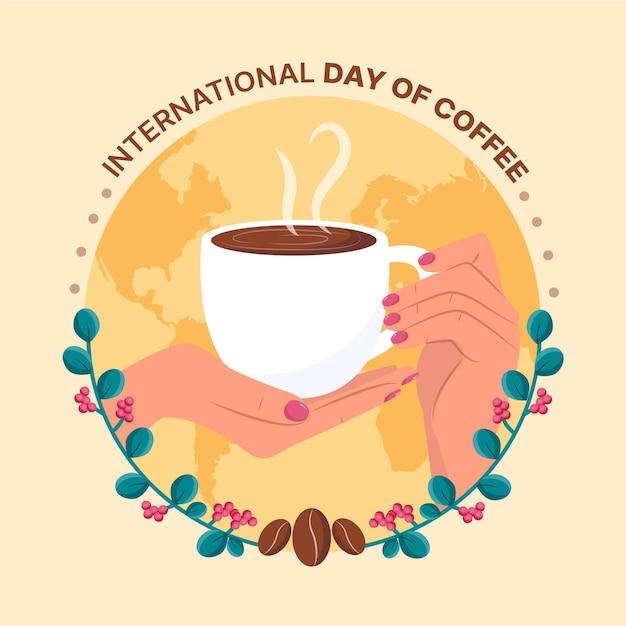 Diseño dibujado a mano del día internacional del café. vector gratuito
