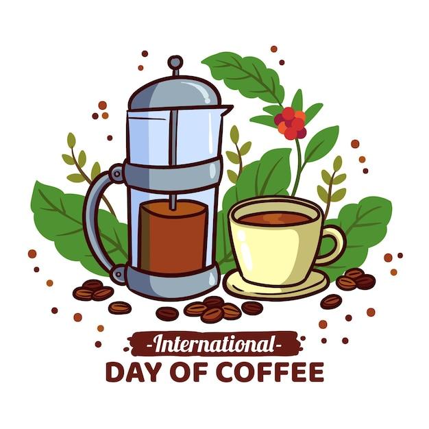 Diseño dibujado a mano día internacional del café. vector gratuito