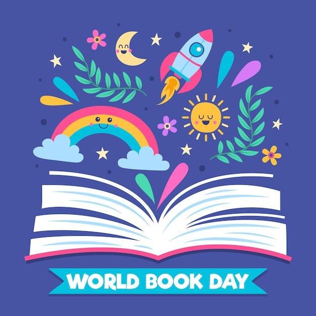 Diseño dibujado a mano para el día mundial del libro vector gratuito