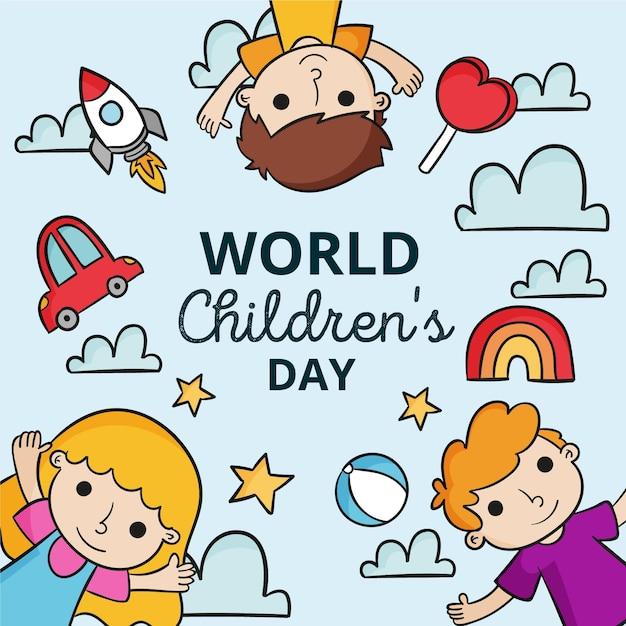 Diseño dibujado a mano día mundial del niño. Vector Premium