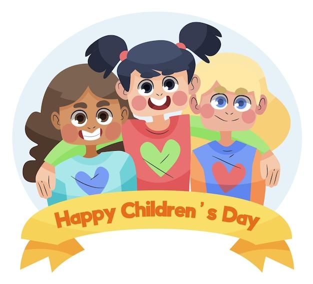 Diseño dibujado a mano del día mundial del niño. Vector Premium
