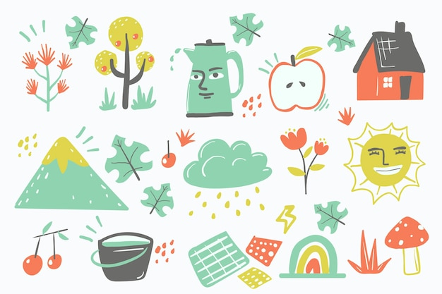 Diseño dibujado a mano formas orgánicas abstractas vector gratuito