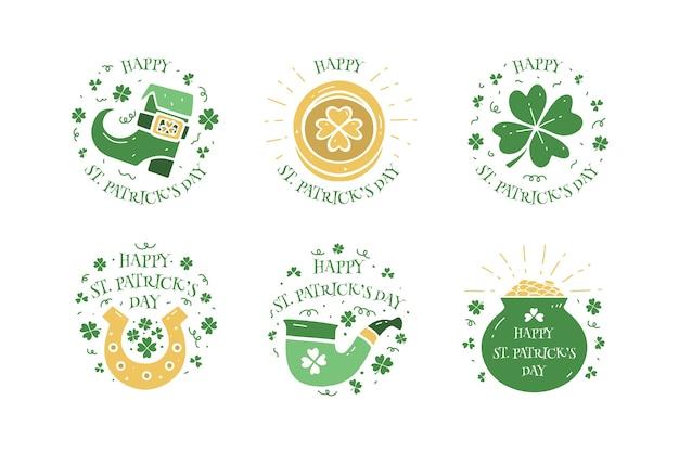 Diseño dibujado a mano de la insignia del día de san patricio Vector Premium