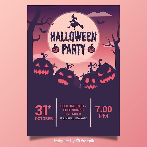 Diseño de dibujado a mano de plantilla de cartel de fiesta de halloween vector gratuito