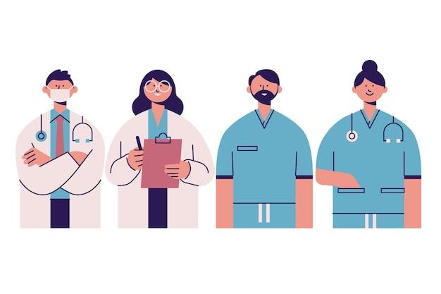 Diseño dibujado a mano de profesionales de la salud vector gratuito