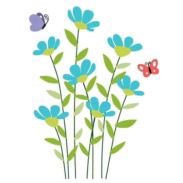 Diseño De Dibujo De Flores Y Mariposas Descargar Vectores Premium