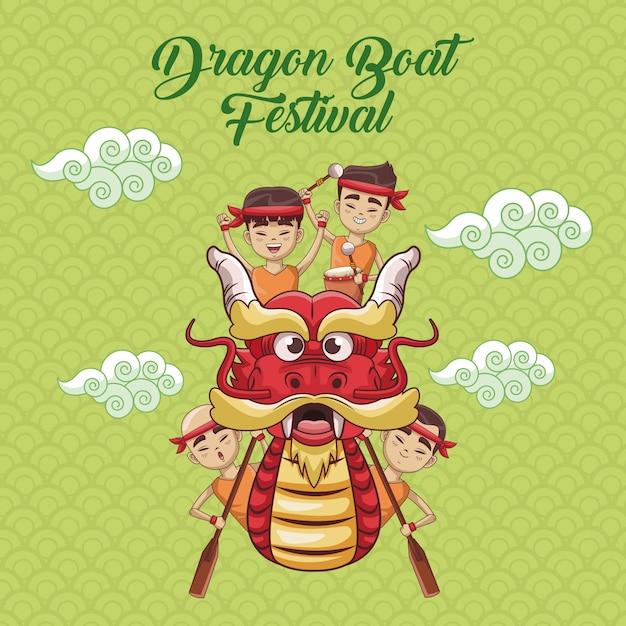 Diseño de dibujos animados festival de barco de dragón Vector Premium