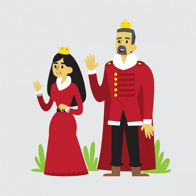 Diseño De Dibujos Animados Rey Y Reina Descargar Vectores Premium