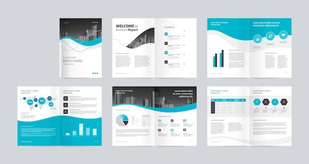 Diseño de diseño con portada para el perfil anual de la empresa y plantilla de folletos Vector Premium