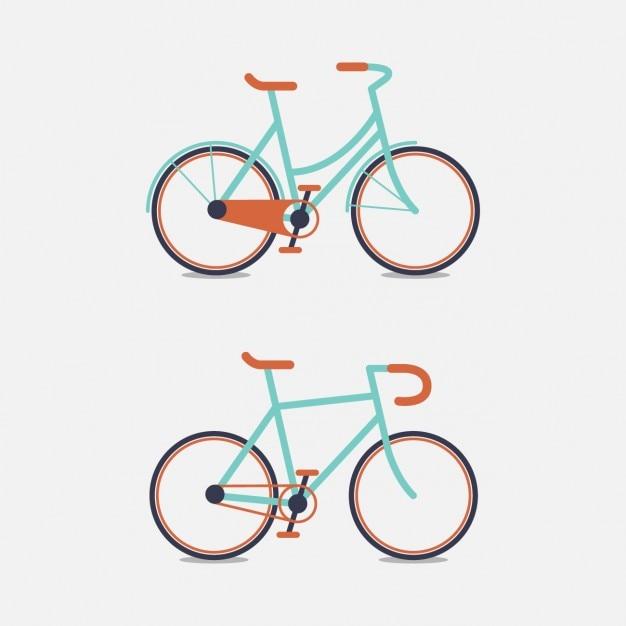 Diseño de dos bicicletas a color vector gratuito