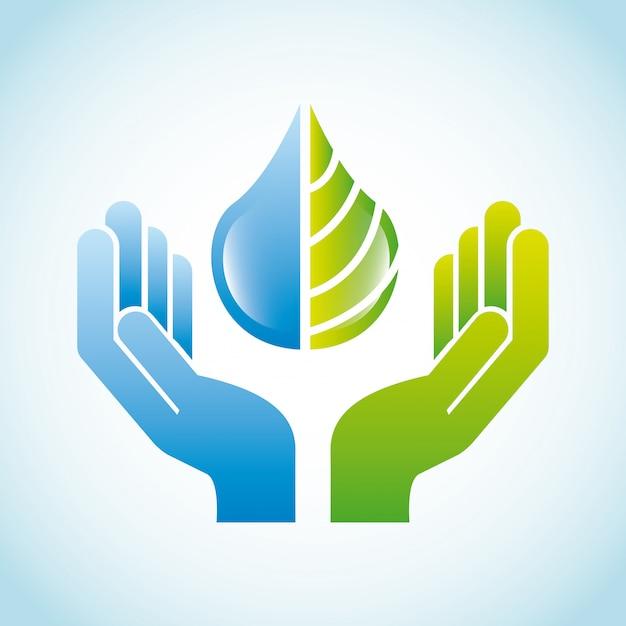 Diseño ecológico sobre fondo azul ilustración vectorial Vector Premium