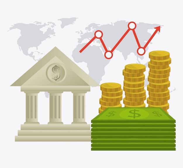 Diseño de economía global, dinero y negocios. vector gratuito
