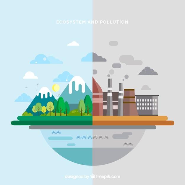 Diseño del ecosistema y contaminación en estilo flat vector gratuito