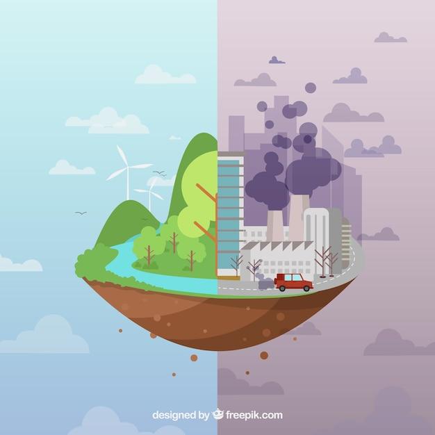 Diseño del ecosistema y contaminación vector gratuito