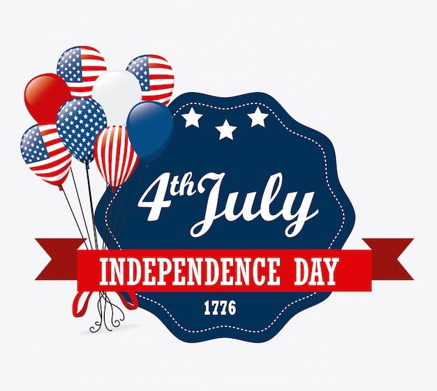 Diseño de eeuu día de la independencia 4 de julio vector gratuito