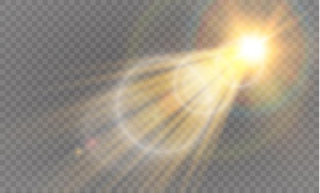 Diseño de efecto de luz especial transparente llamarada solar frontal dorado lente abstracta Vector Premium
