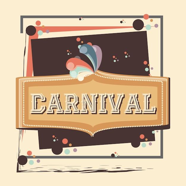 Diseño del ejemplo del vector del icono de la vendimia de la etiqueta del carnaval Vector Premium