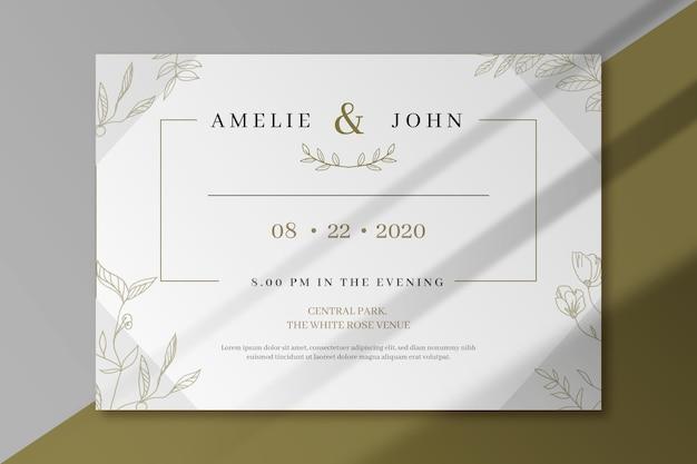 Diseño elegante de invitación de boda vector gratuito