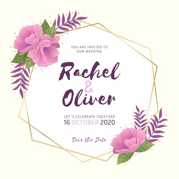 Diseño elegante del marco floral de la boda vector gratuito