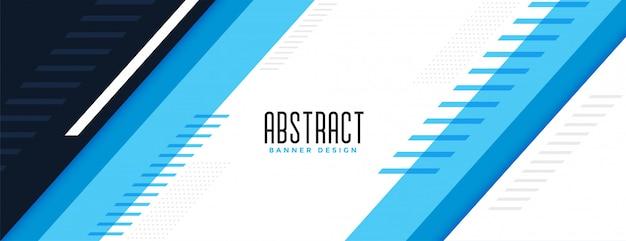 Diseño elegante moderno azul bandera ancha geométrica vector gratuito