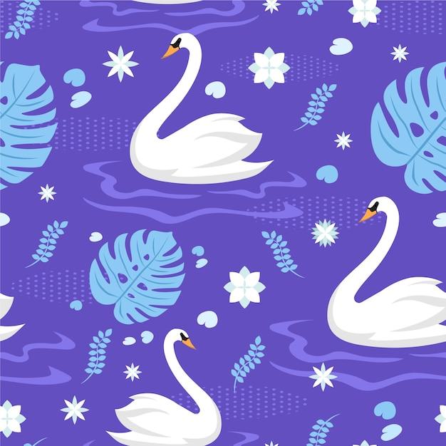 Diseño elegante patrón de cisne vector gratuito