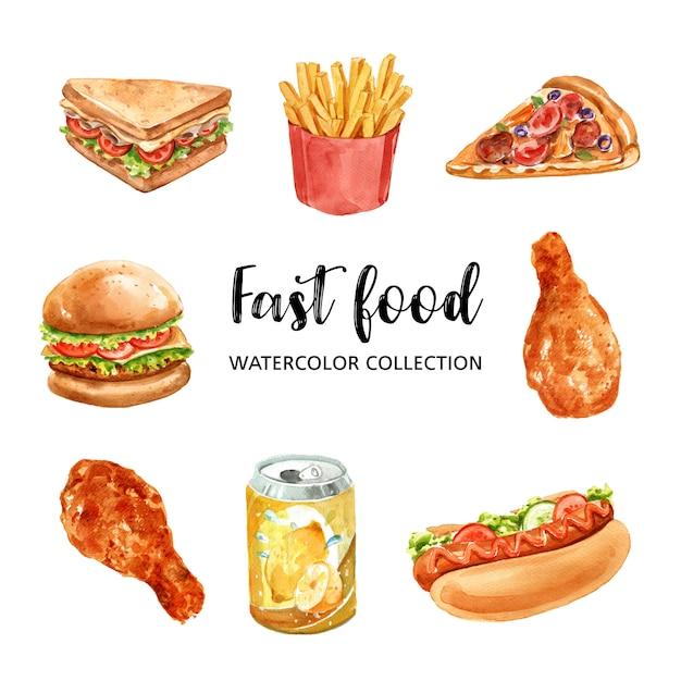 Diseño de elementos de comida rápida con acuarela vector gratuito