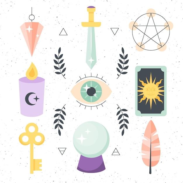 Diseño de elementos esotéricos. Vector Premium