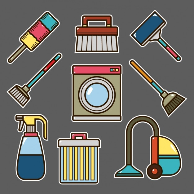 Diseño de elementos de labores domésticas vector gratuito
