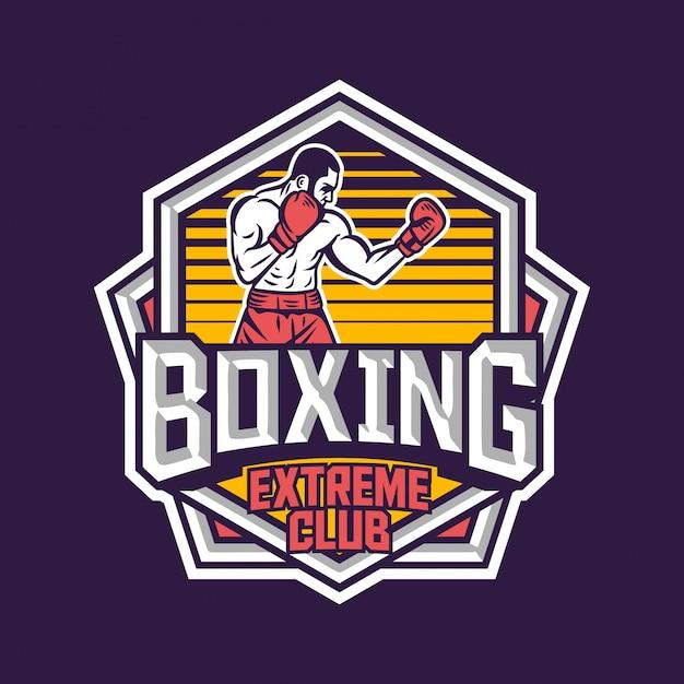 Diseño de emblema de logotipo de insignia retro de club extremo de boxeo con ilustración de boxeador Vector Premium