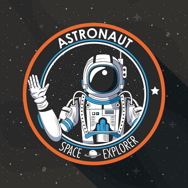 Diseño del emblema del parche del explorador espacial vector gratuito