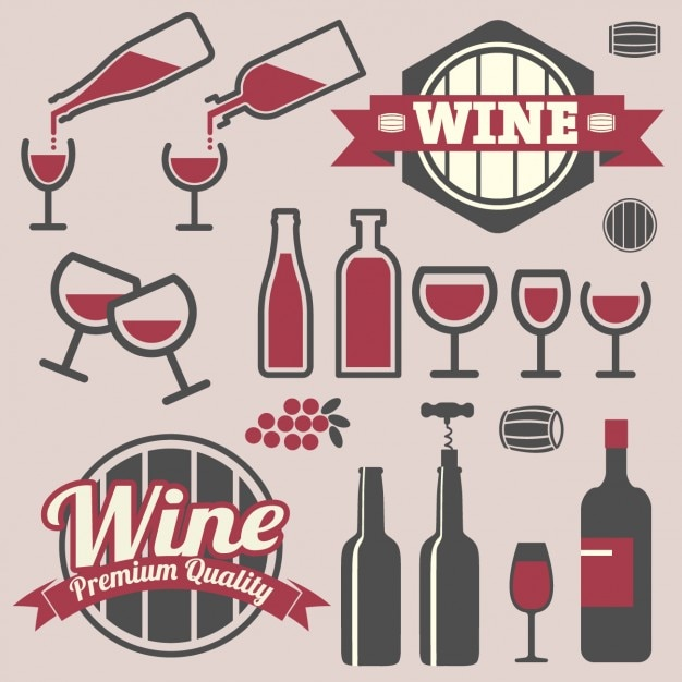 Diseño de emblemas e iconos de vino vector gratuito