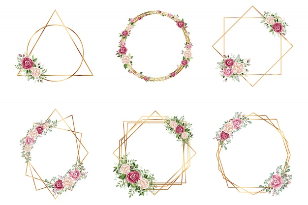 Diseño de estilo deco de invitación de boda de poliedro geométrico de oro botánico Vector Premium