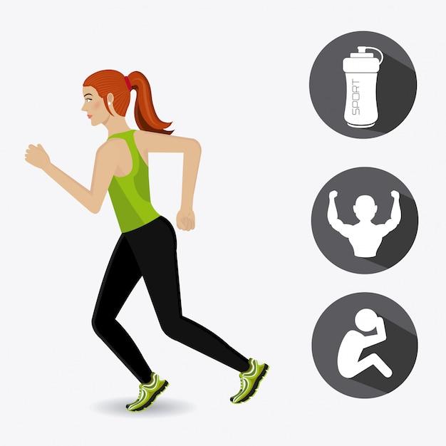 Diseño de estilo de vida de fitness. Vector Premium