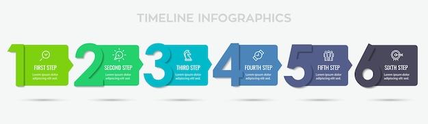 Diseño de etiqueta infográfica con 6 opciones o pasos. infografía por concepto de negocio. se puede utilizar para pancartas de presentaciones, diseño de flujo de trabajo, diagrama de proceso, diagrama de flujo, gráfico de información Vector Premium