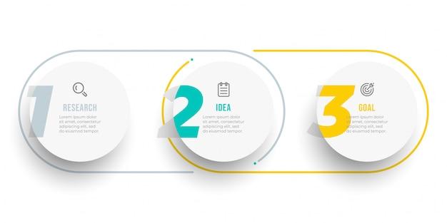 Diseño de etiqueta infográfica de círculo con números. línea de tiempo con iconos y 3 opciones, pasos o procesos. Vector Premium